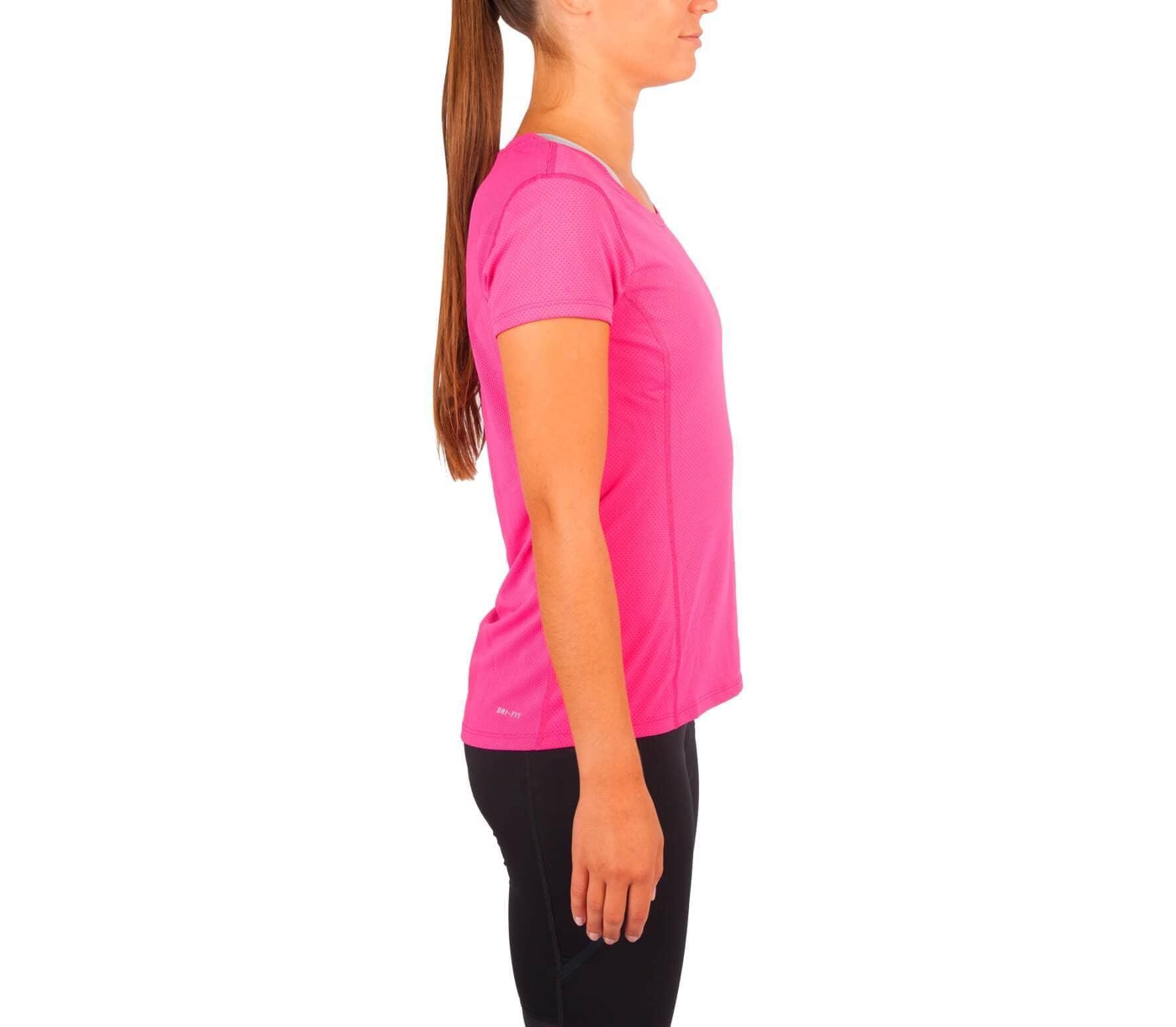 reputable site b6fa4 34414 Nike - Dri-Fit Contour Shortsleeve Femmes chemise de course (rose argent)