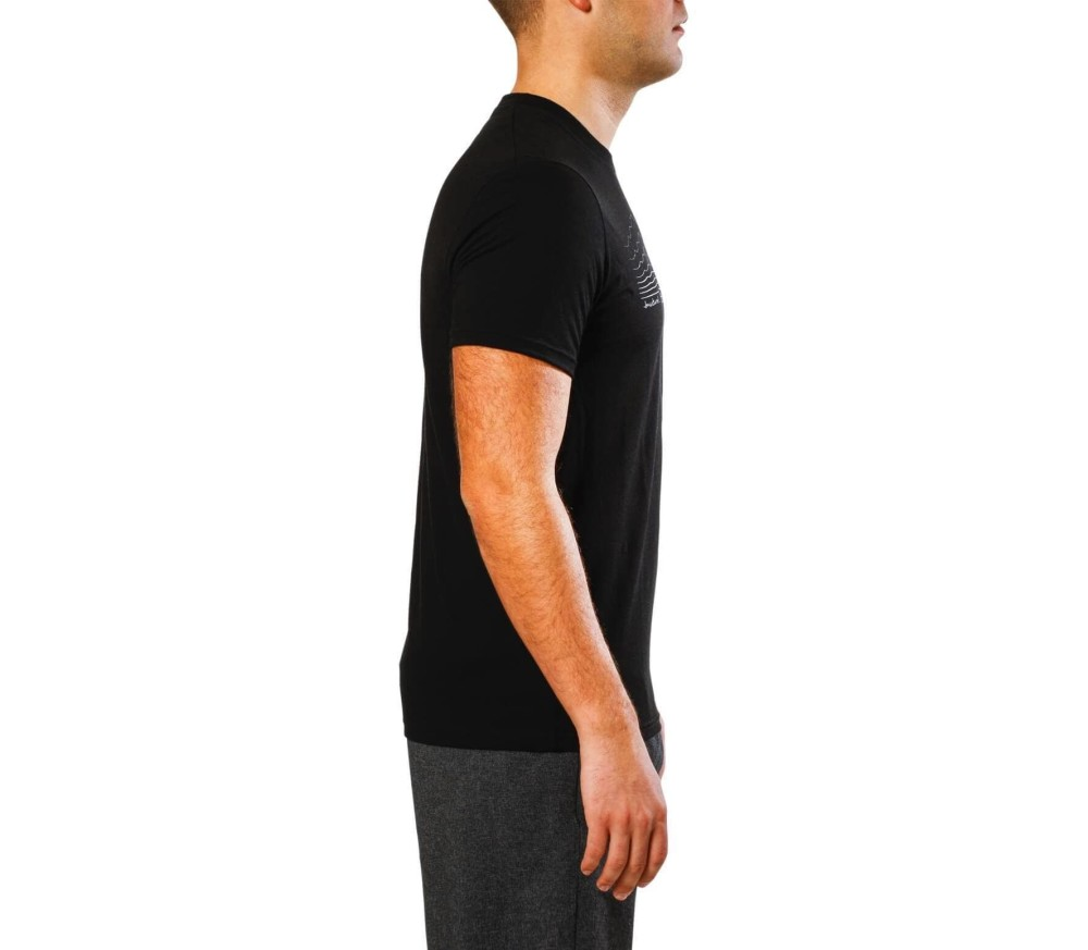SmartWool - Graphic Tee Slim Fit (Striped Logo) men's functional top (black)