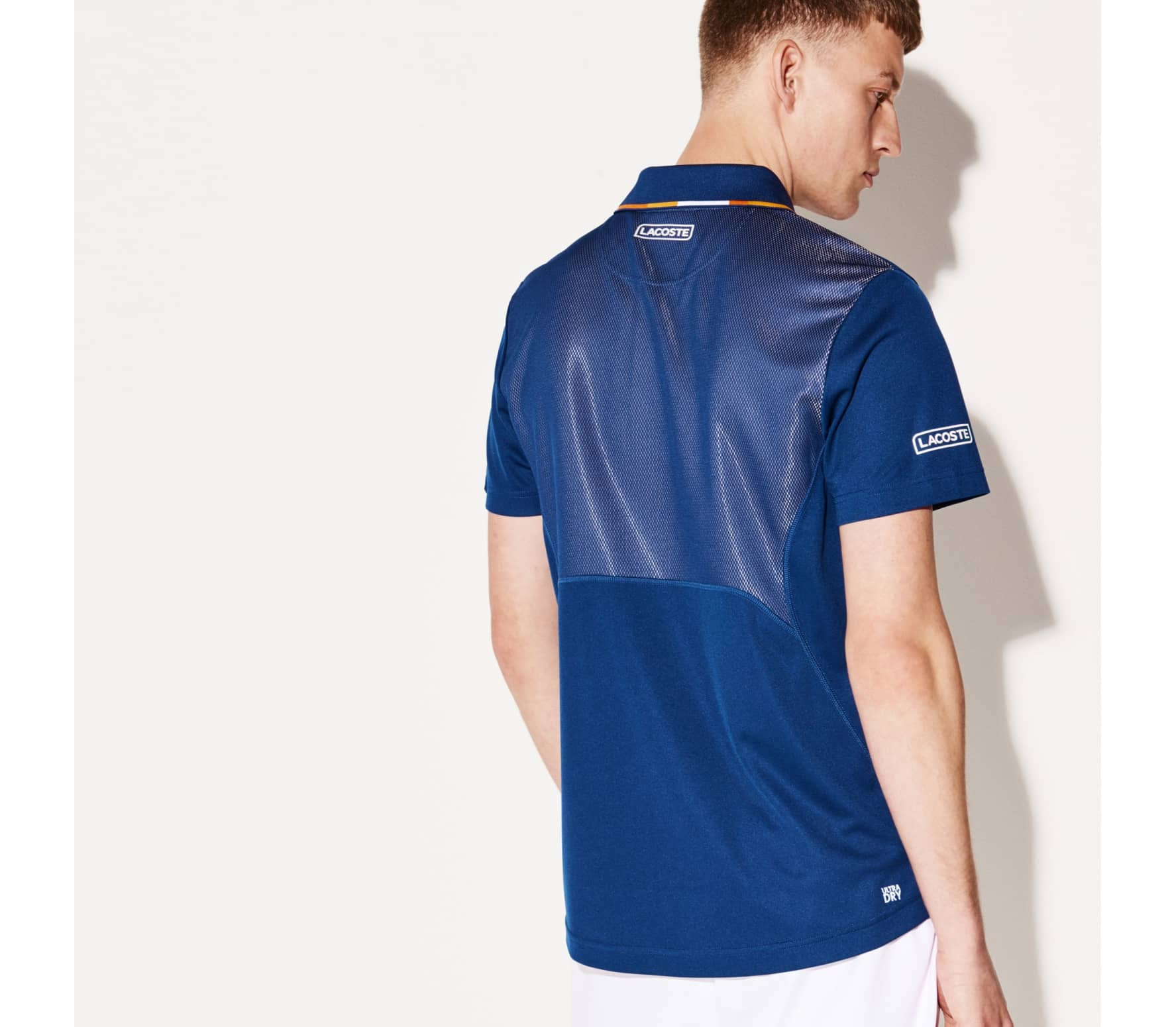 014f340c01 Lacoste - Court Sleeved Ribbed Collar Hommes Tennis Polo (bleu / jaune)