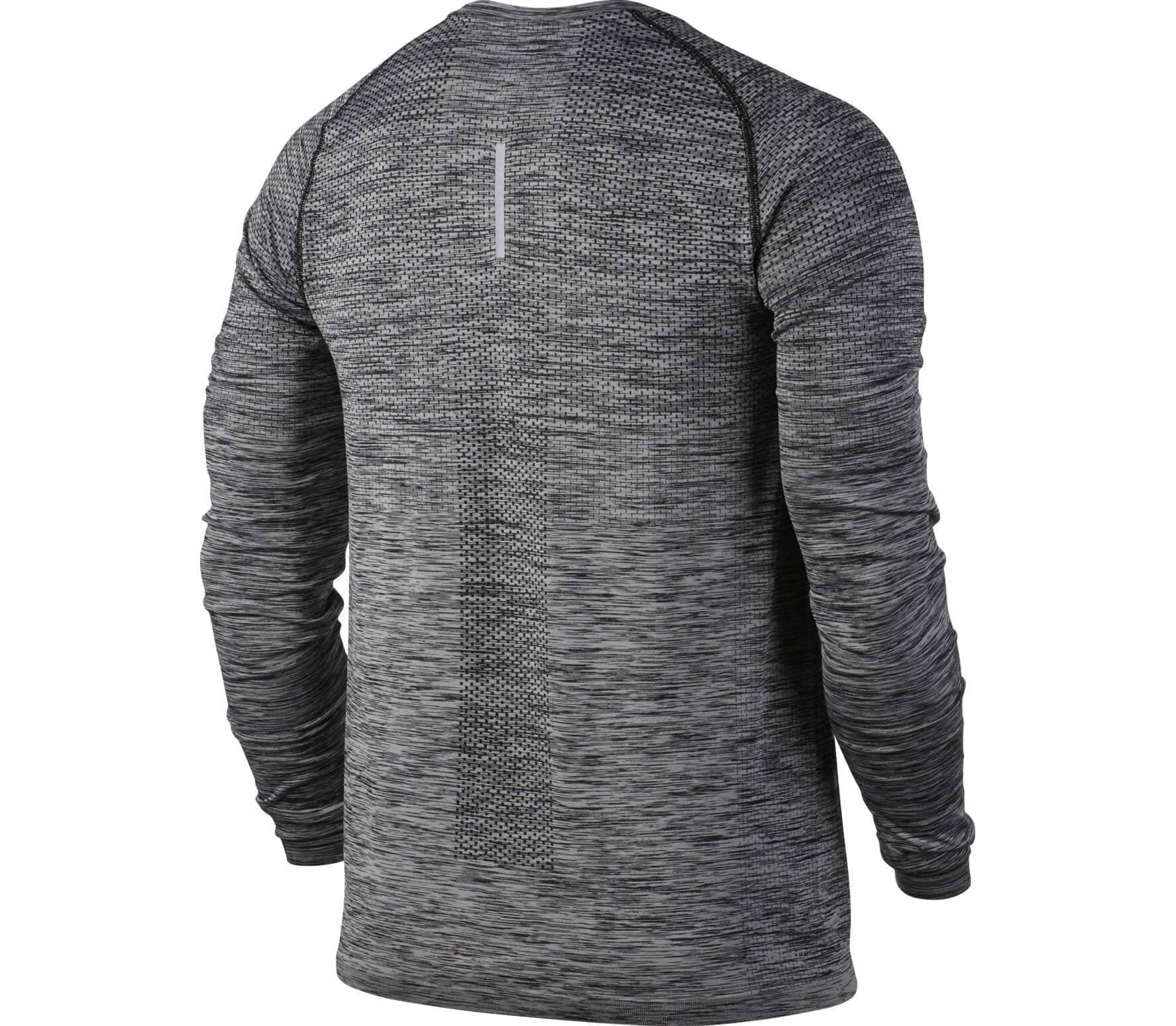 nike dri fit knit longsleeve men 39 s running top grey. Black Bedroom Furniture Sets. Home Design Ideas