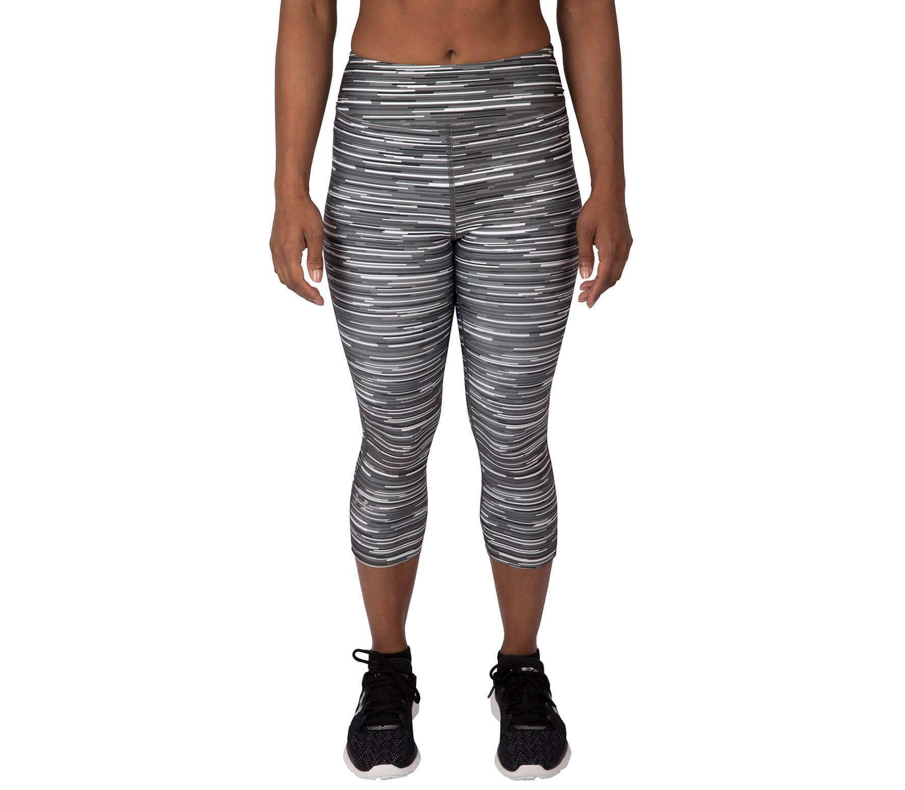 2cf47f6518358 Under Armour - Heatgear Armour Printed capri pants women's training pants  (grey/white)