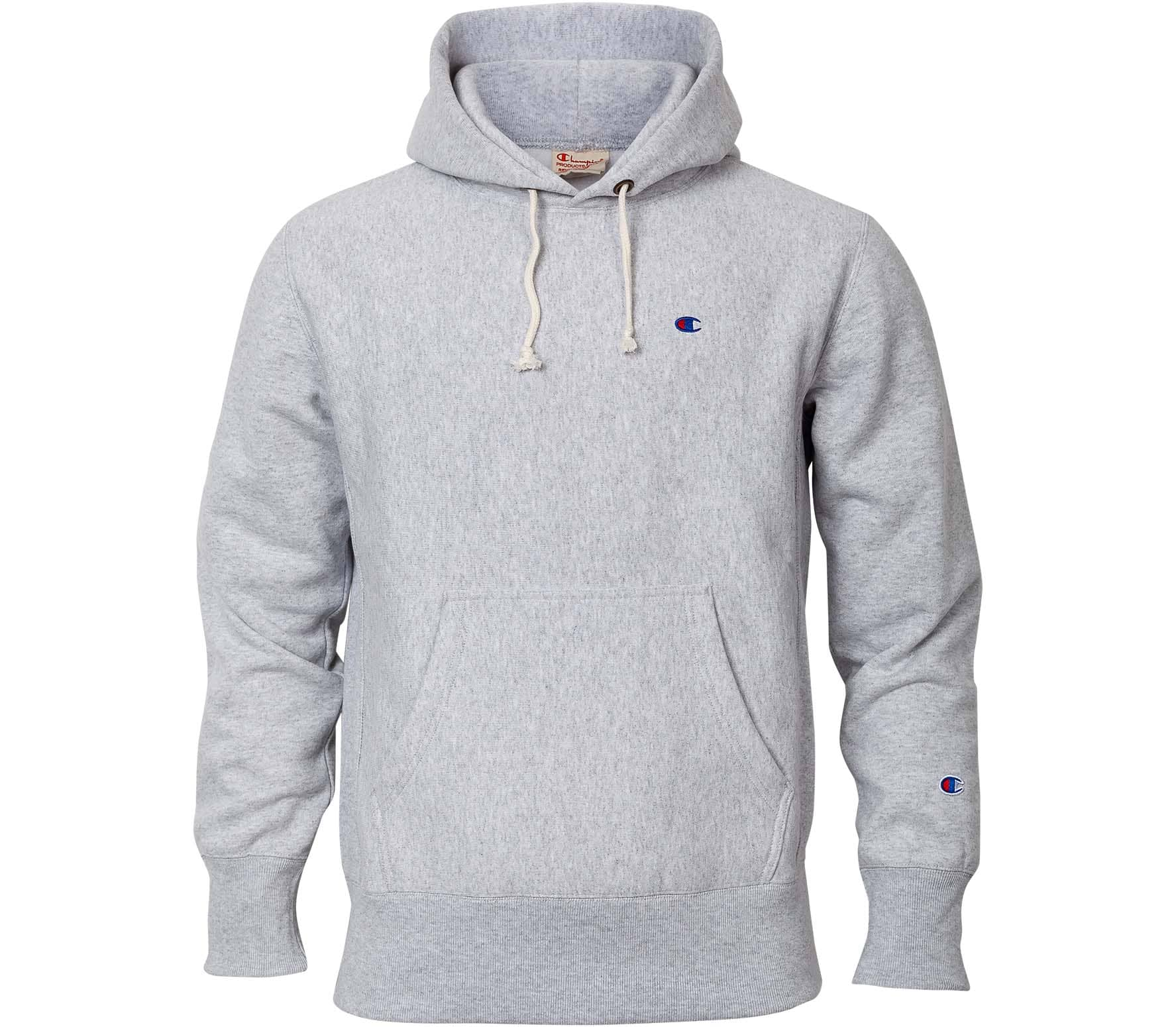 2cae9899f037 Champion Reverse Weave Brushed fleece men s hoodie (grey white ...