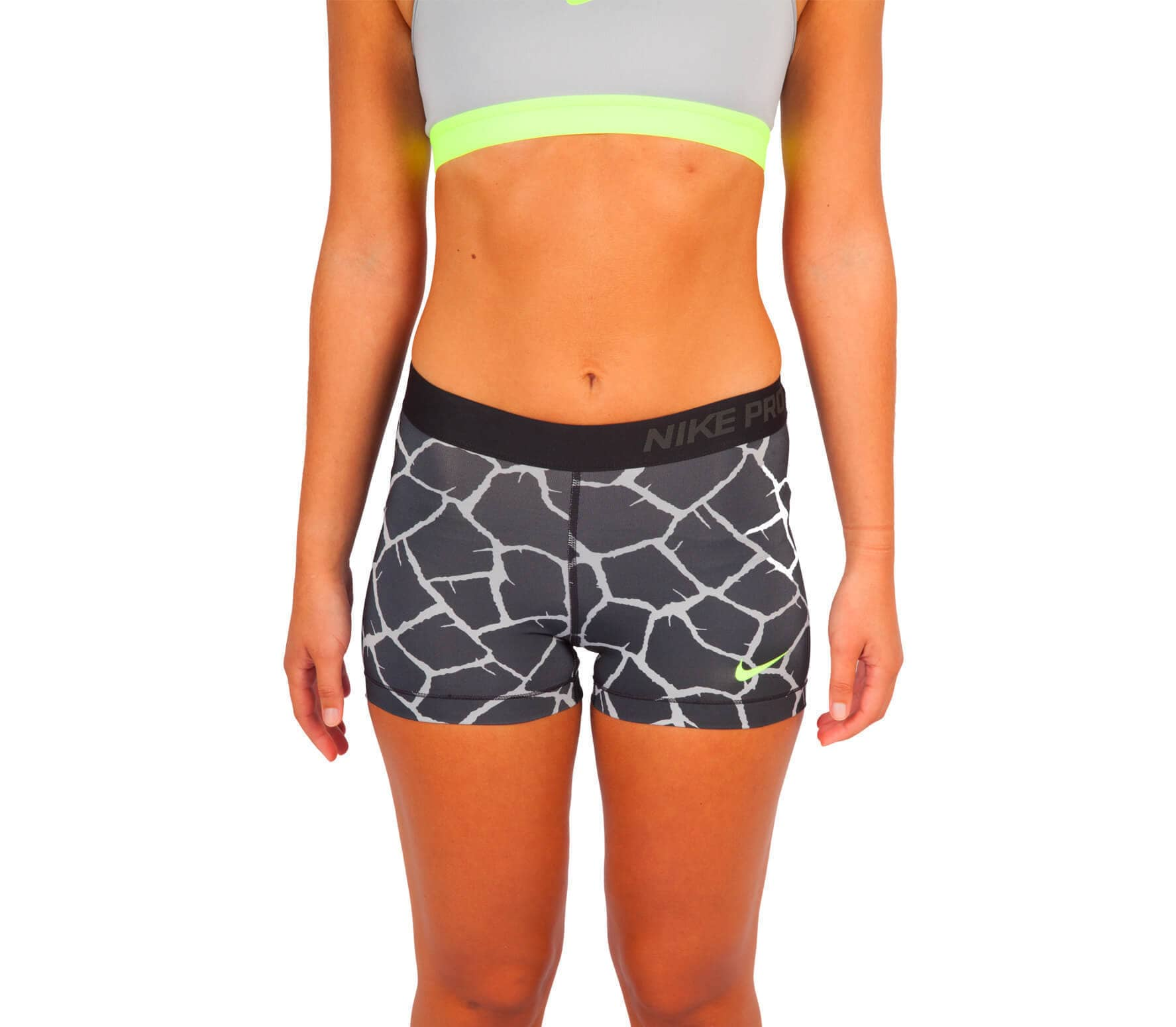 nike pro 3 inch giraffe women 39 s training shorts grey. Black Bedroom Furniture Sets. Home Design Ideas