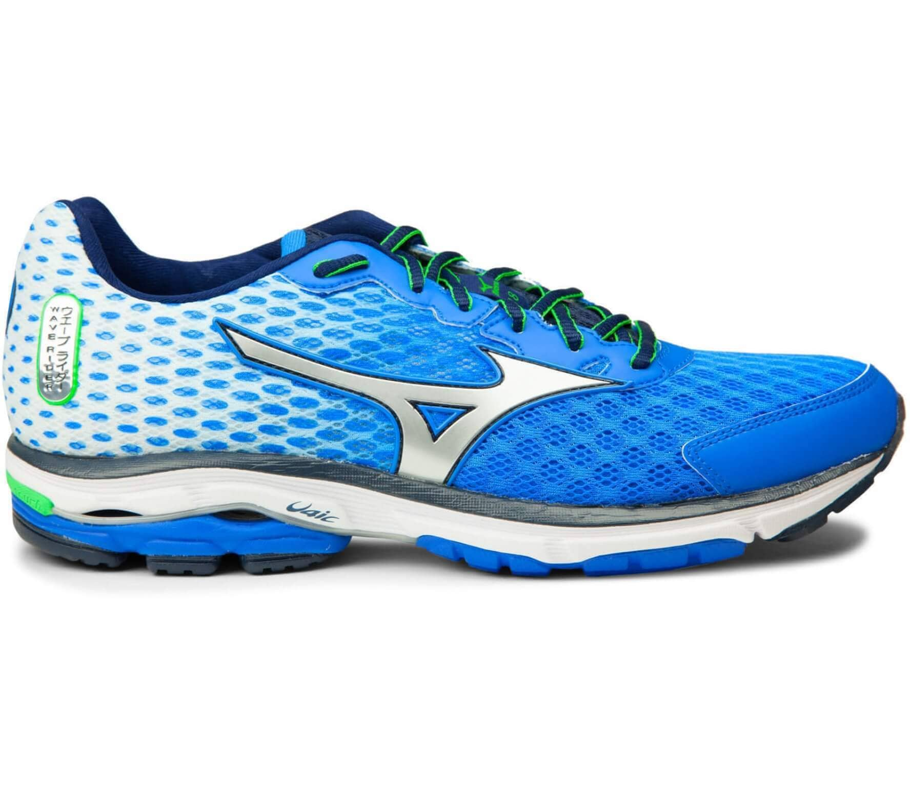 official photos e0a3c 99332 Mizuno - Wave Rider 18 men's running shoes (blue/silver)