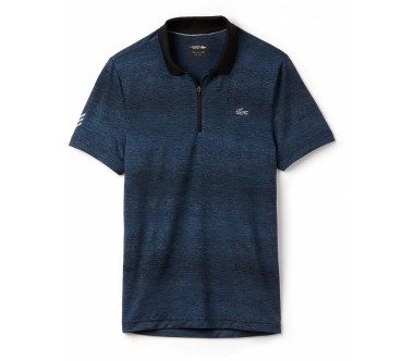 Lacoste - shorts Sleeved Ribbed Collar men's tennis polo top (blue/black)