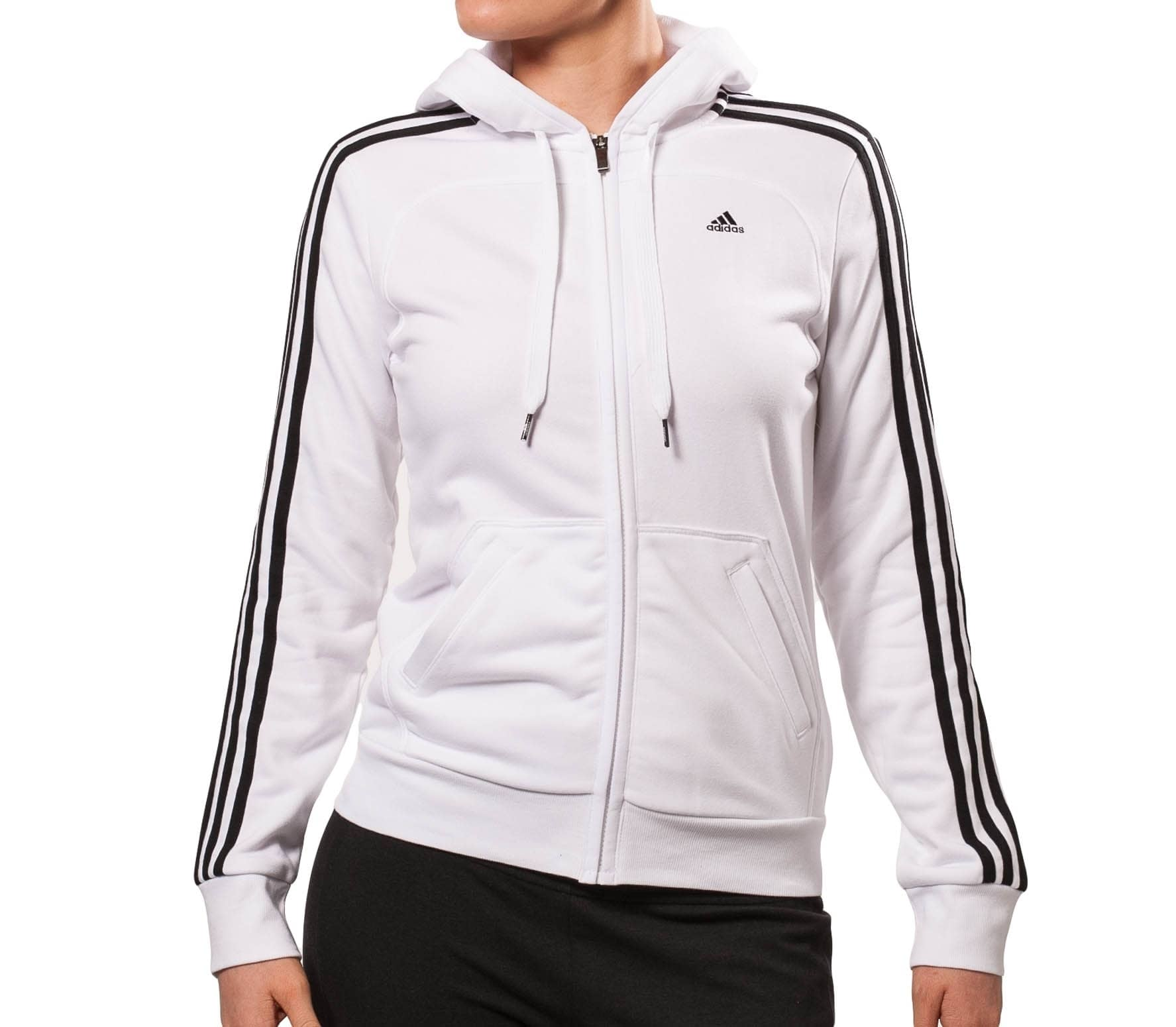 adidas Femmes Essentials 3 Stripes Full Zip Hoody Jacket Dames