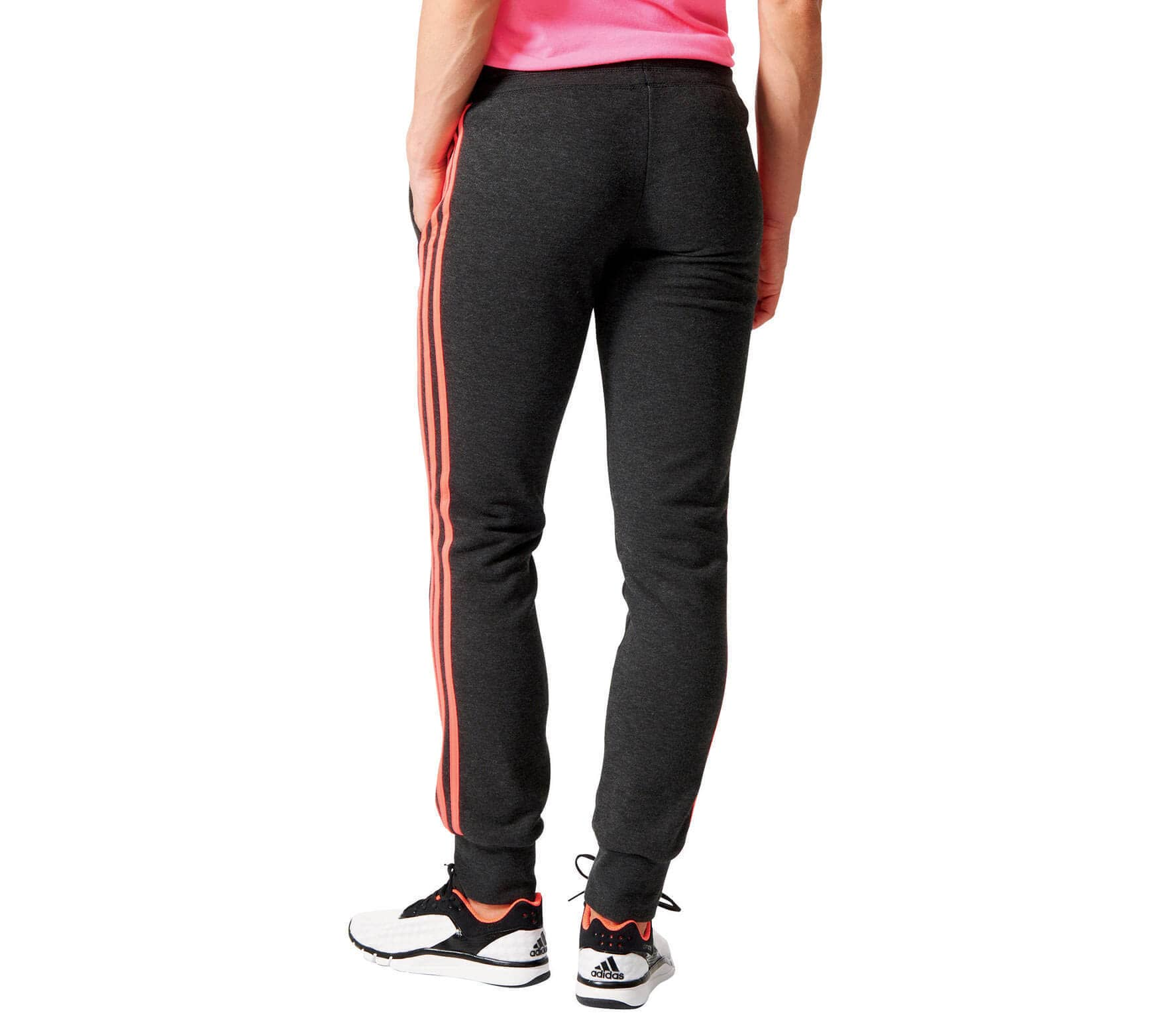 31c2701844c Adidas - Essentials 3S Cuffed Dames trainingsbroek (zwart/rood ...
