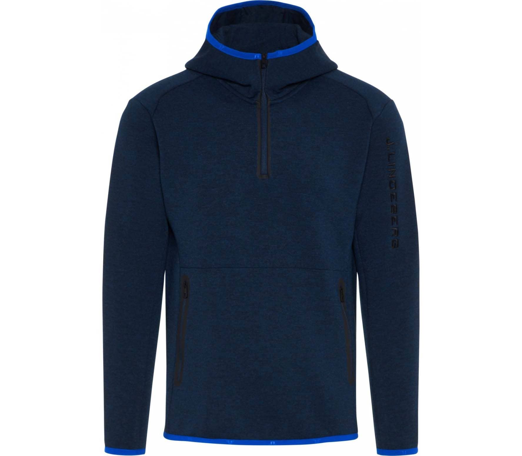 J.Lindeberg - Logo hood tech sweat men's Power Stretch hoodie (blue)