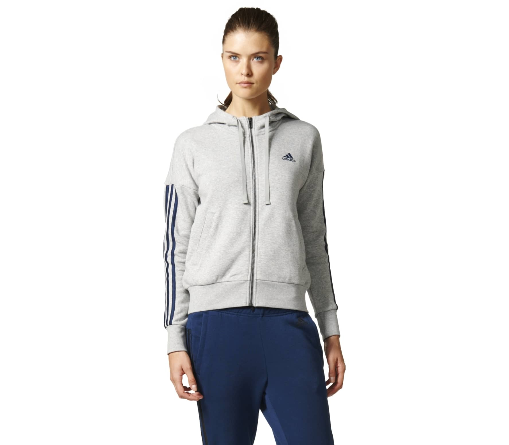 54835397bc Adidas - Essentials 3 Stripes Full-Zip felpa con cappuccio training da  donna (grigio/nero)