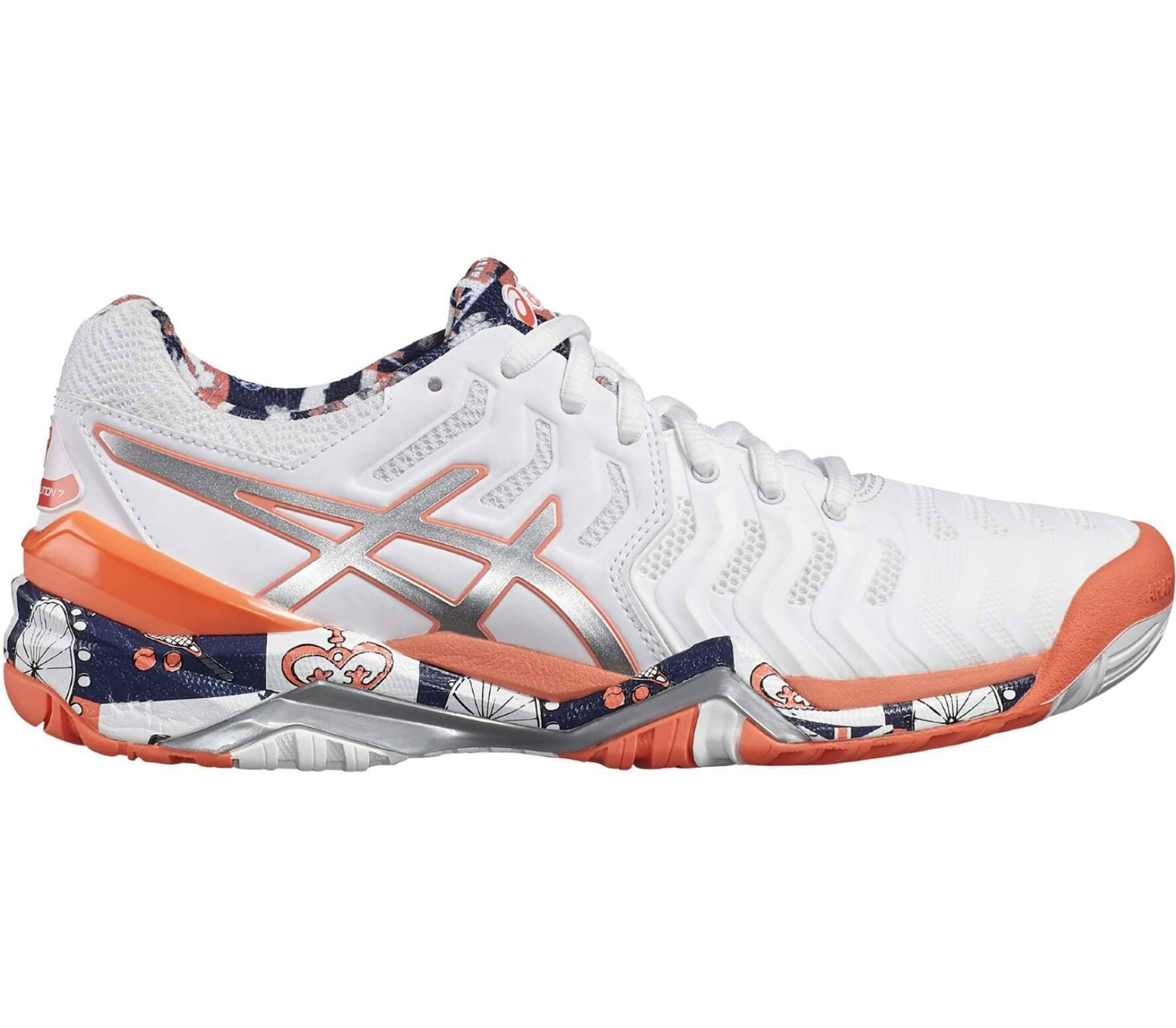 0b2b5198f41c Asics - Gel-Resolution 7 L.E. London women's tennis shoes (white/grey)