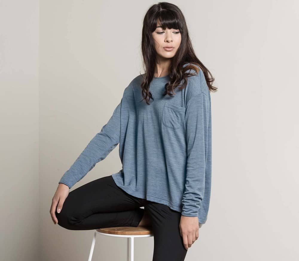 180GSM Relaxed Merino Femmes T-shirt à manches longues