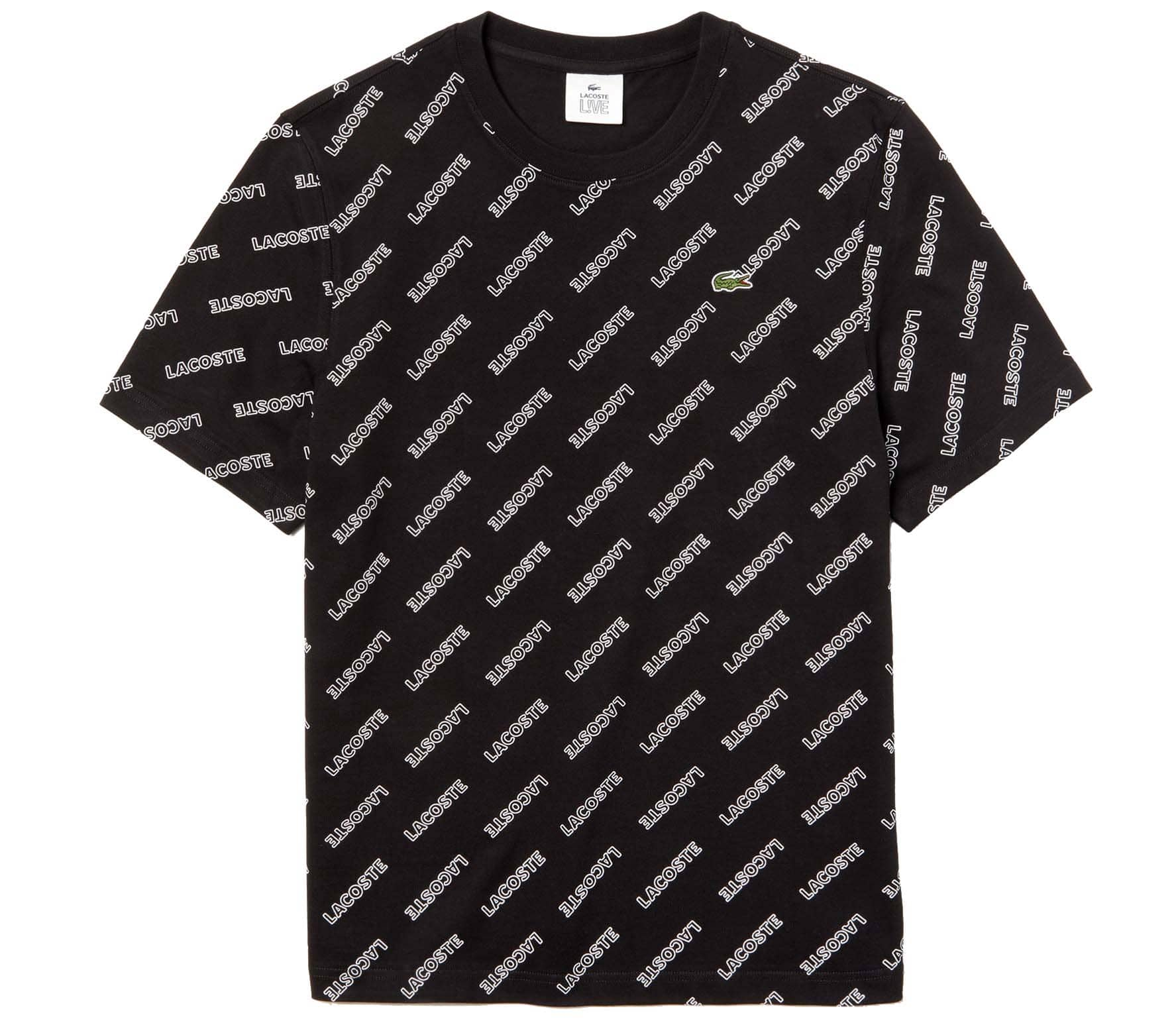 LACOSTE L!VE AOP Logo Men T-Shirt black