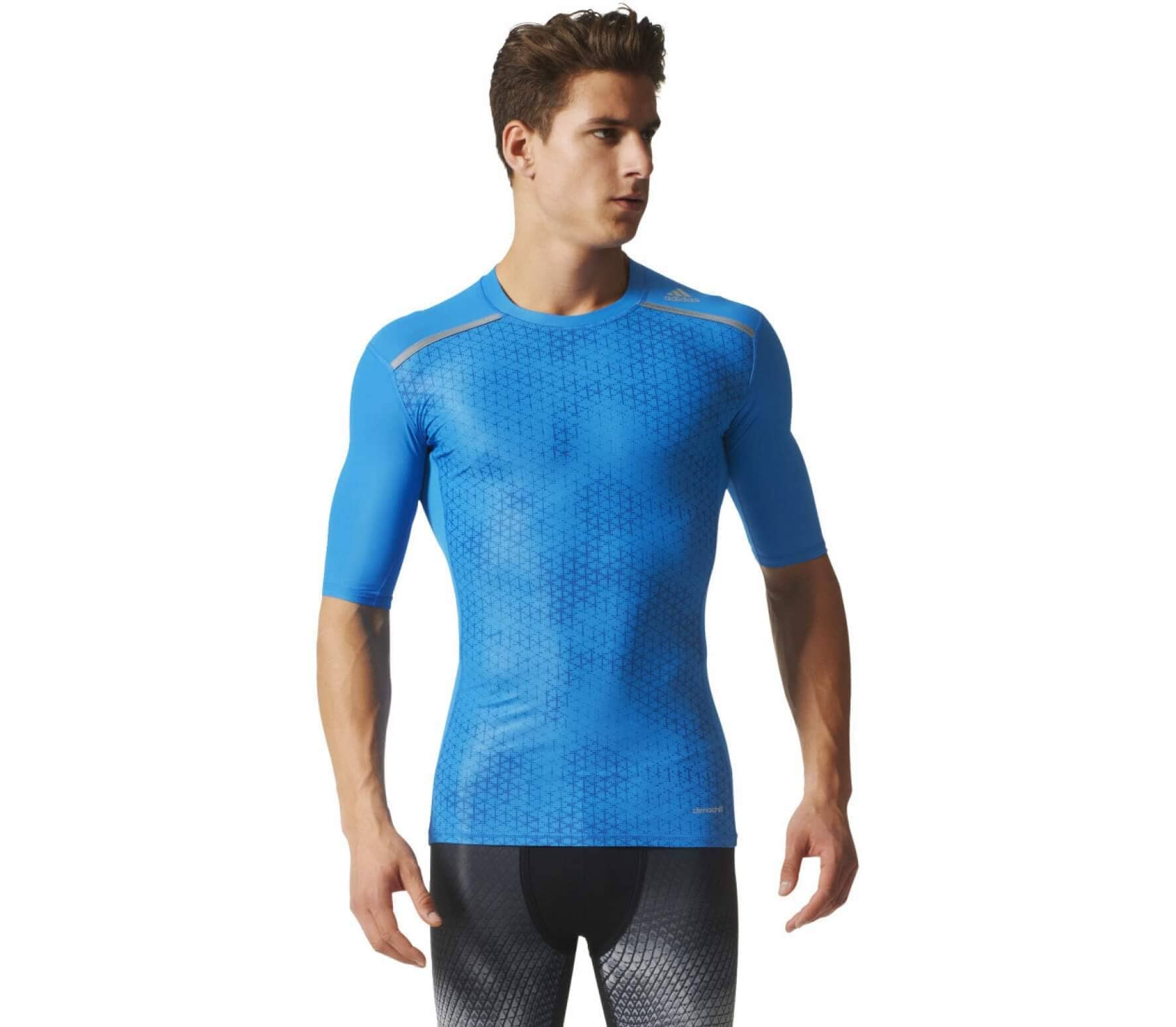 8598588445f78 Adidas - Techfit Chill Graphic Tee men s training top (blue) - buy ...