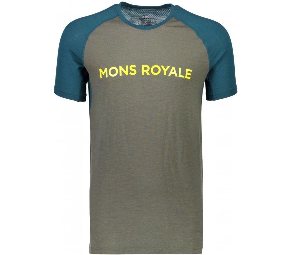 Mons Royale - Temple Raglan Tech Geo men's merino top (khaki/dunkeltürkis)