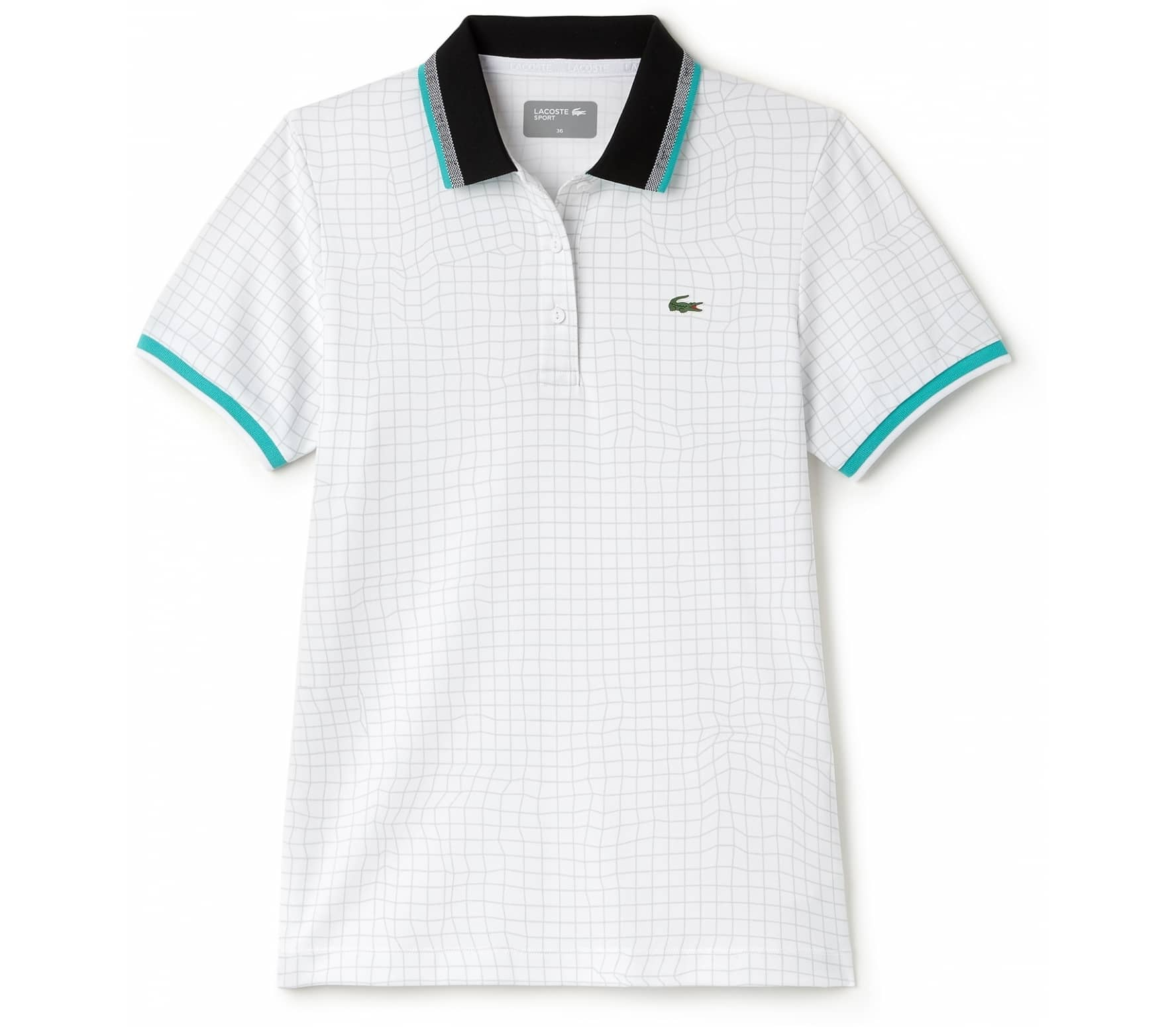 7ca042bb Lacoste - Sleeved Ribbed Collar women's tennis polo top (white/green ...