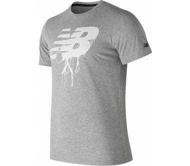 New Balance - Graphic Heather Tech Hombre camiseta para correr (gris)