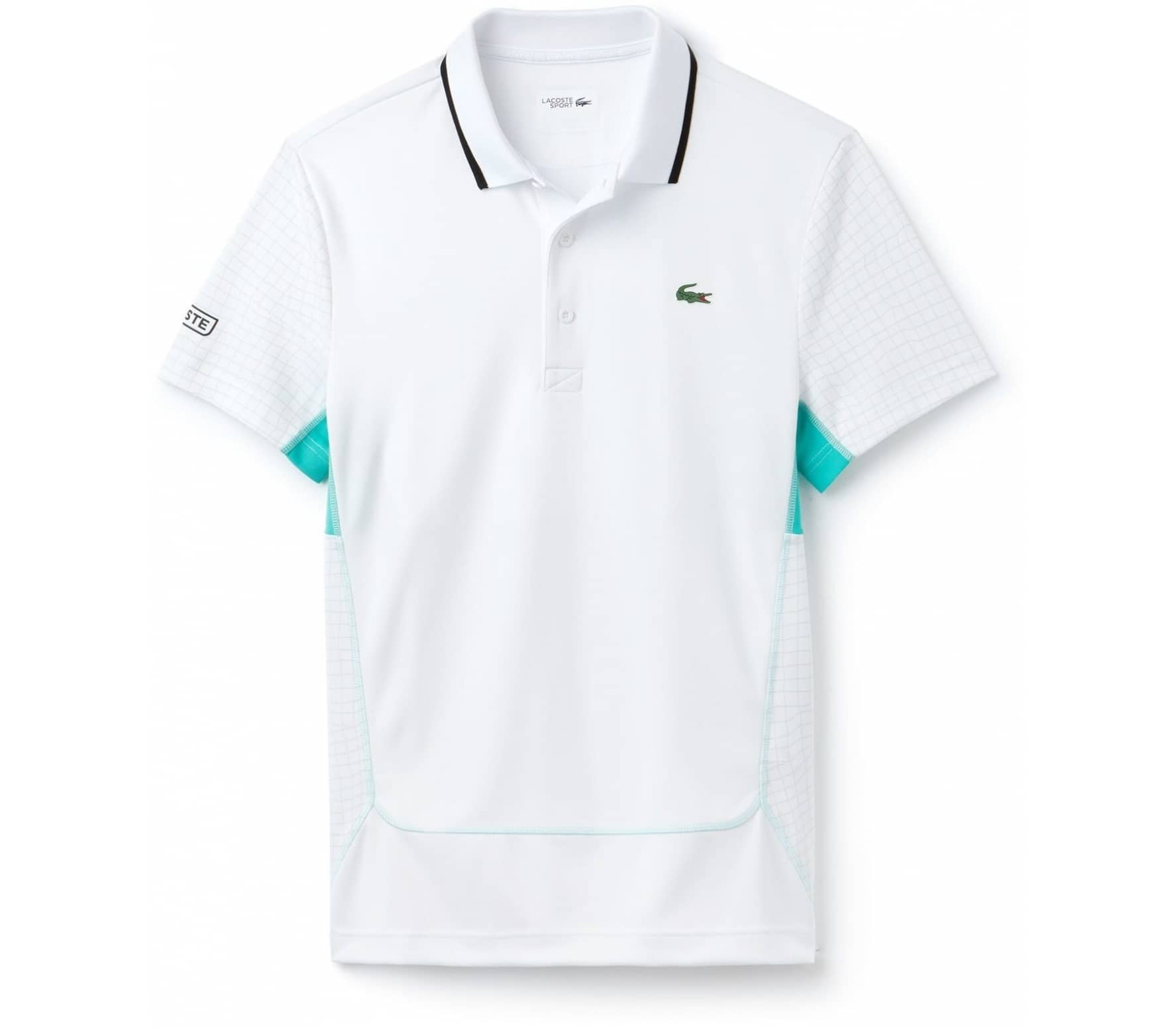 Lacoste - Sleeved Ribbed Collar men s tennis polo top (white green ... 7c45f9375ec