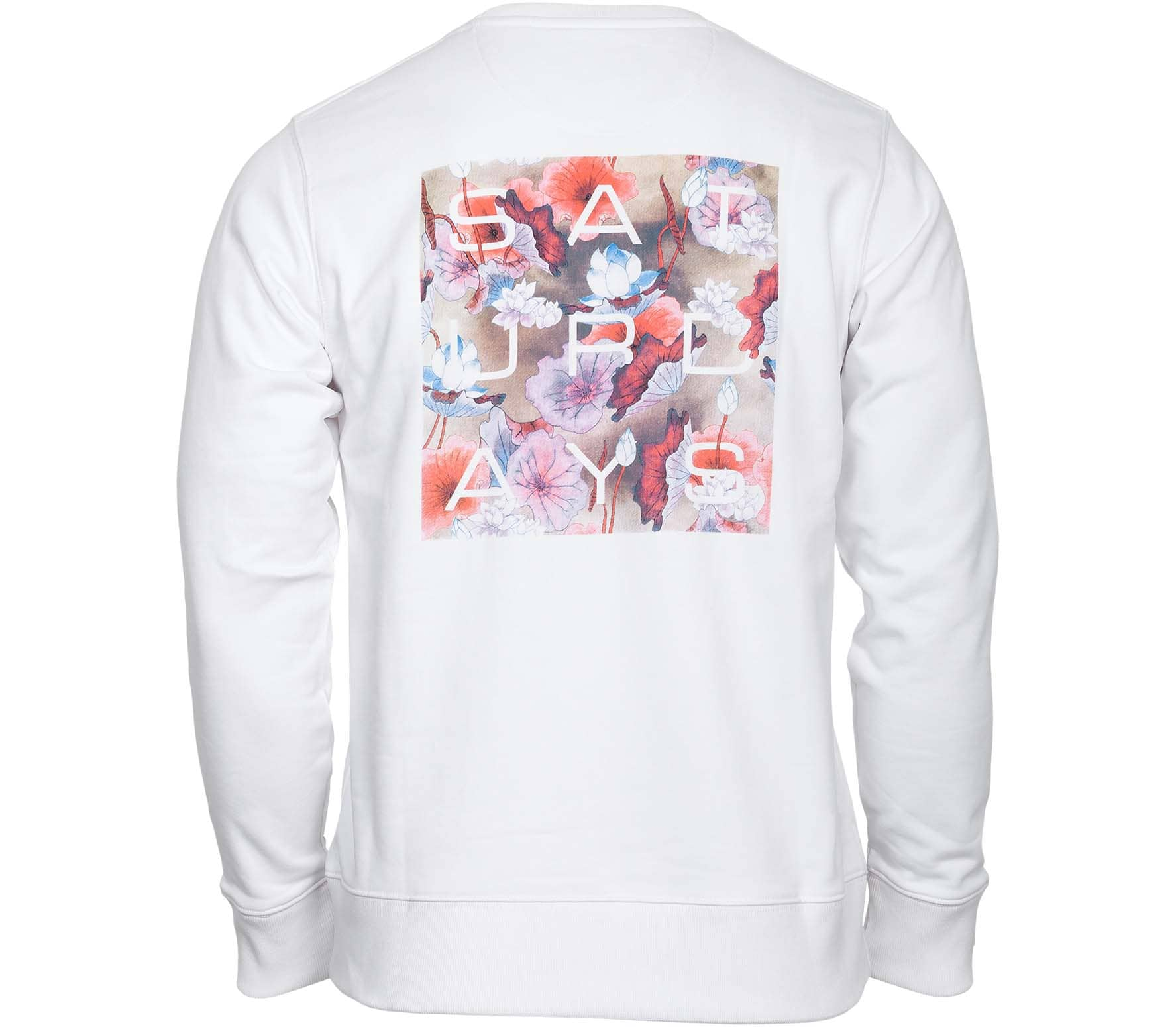 Saturdays NYC Bowery Lotus Grid Unisex Sweatshirt weiß