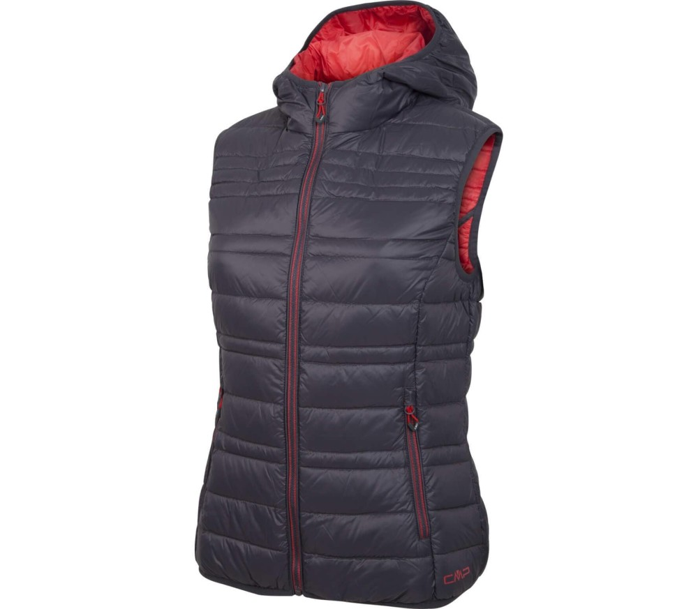 cmp fix hood dames body warmer donkergrijs rood online kopen in de keller sports. Black Bedroom Furniture Sets. Home Design Ideas